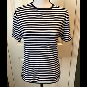 Classic J McLaughlin navy white stripe knit top, M